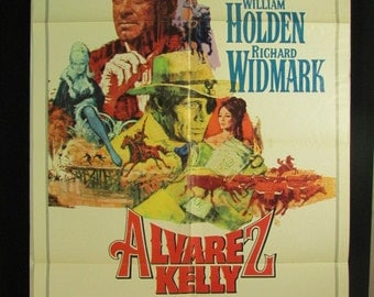 "Movie Poster  ""Alvarez Kelly"" - Original 1966 Movie Poster - William Holden and  Richard Widmark"