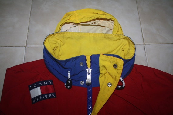 vintage tommy hilfiger red blue yellow jacket with hoodie. Black Bedroom Furniture Sets. Home Design Ideas