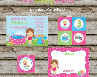 DIY - Girl Water Games Birthday Party Pack- Coordinating Items Available