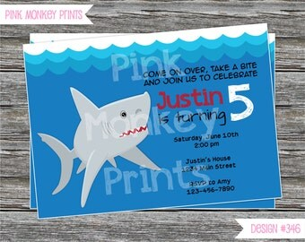 DIY - Shark Birthday Party Invitation #346 - Coordinating Items Available