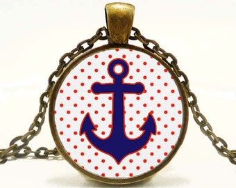 Anchor Pendant Altered Art Pendant Nautical Necklace Bue and White Red Polka Dots