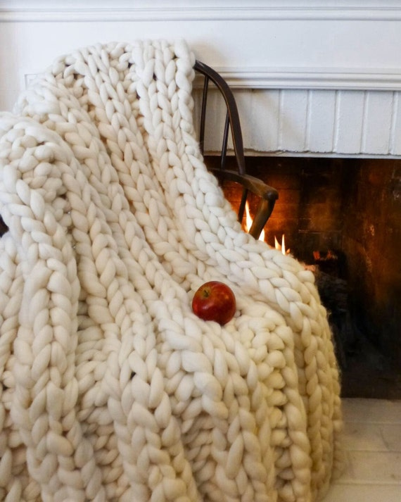 Super Chunky Blanket, 30x60, Pure Merino Wool, chunky throw, knit blanket, chunky blanket