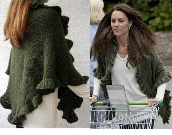 Knitting Pattern For Kate Middleton s Shawl : Kate Middleton Princess Kate Shawl Olive Green Three Sides