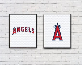 Digital Download Set of 2 Los Angeles Angels Poster Set Typography Poster Print - Boys Room - Game Room - 8x10 11x14 12x18