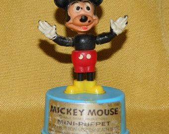Vintage Mickey Mouse Mini Puppet Walt Disney Productions Kohner Bros Push Button Under Base