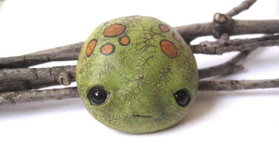 Limited Edition - Hand painted seed monster face brooch - froggy green