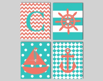 Nautical Nursery Print - Kids Nautical Wall Art - Chevron Monogram Wall Art - Sailboat Anchor Prints - Choose Colors - 4 8 x 10 Prints