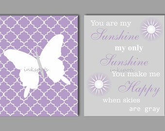 Butterfly Print, Butterfly Wall Art, Butterfly Nursery Decor, You Are My Sunshine, Butterfly Art in Customizable Colors - BF2604