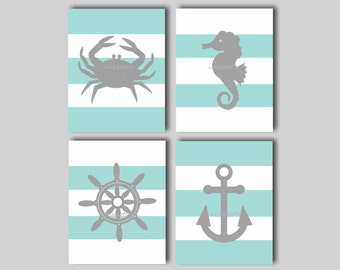 Nautical Nursery Prints Nautical Nursery Art Nautical Wall Art Nautical Nursery Bedding Decor Anchor Print Nautical Decor Crab Print NA1410