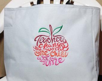 Machine embroidered  tote bag,  Teacher