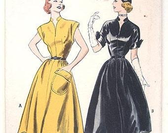 50s Butterick 6017 Rockabilly Day Dress, Cinched Waist, Flared Skirt.  Size 14