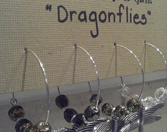 Dragonfly Wine Charms - Set of 4