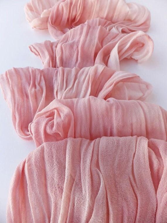 """Blush scarf - crinkle scarf - silk chiffon scarf - fall scarf - hand dyed - medium, 13"""" x 56"""" - dyed to order"""