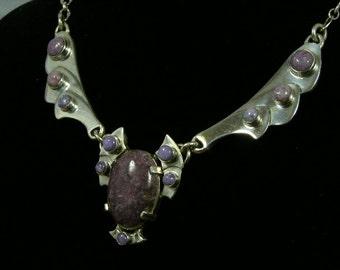 Dragon Flight Necklace, Sterling Silver, Handmade, Brilliant finish, Original Design. Charoite stone