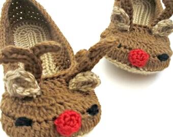 Reindeer Slippers -  Womens Crochet Slippers - Christmas Slippers - Crochet shoes womens sizes - Rudolph Slippers