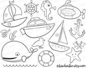 Sea Boats First Birthday DIY Invitations Nautical Digital Stamps Sailboats Submarine Seahorse Starfish Whale Party Decorations Clipart 30035