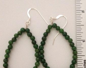 Sterling silver green jade hoop earrings