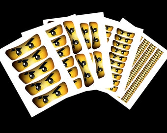 Blue Ninja Sticker Eyes: INSTANT DOWNLOAD (High Resolution)