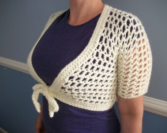 Open Crocheted Tie-Front Shrug