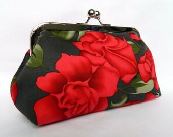 Clutch Purse, Floral Clutch Purse, Red Roses Clutch Purse, Evening Clutch.