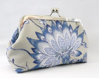 Clutch Purse, Blue and White Floral Design Clutch Purse, Wedding Clutch Purse