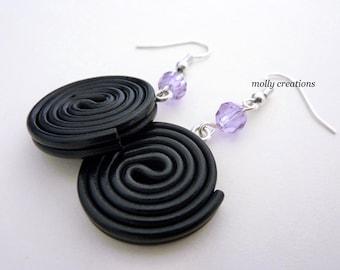 HandMade jewellery Fimo Polymer clay licorice liquorice earrings