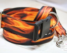 Fire and flames handmade dog collar - Buckle dog collar, TWO widths - 1.5in WIDE collar, or 1in STANDARD - matching dog leashes available