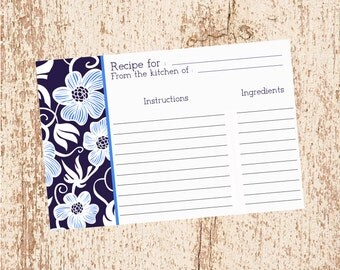 Navy Blue Flowers - Recipe Card