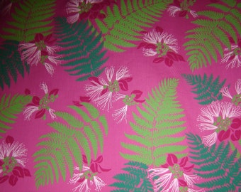 Hawaiian Fabric - Green Leaves and Flowers on Pink Background