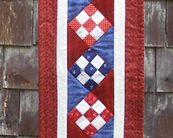 Long table runner, red, white and blue