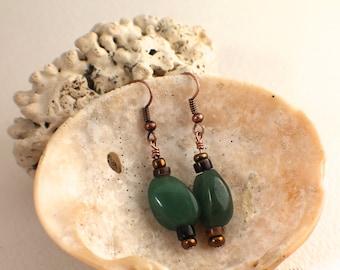 Aventurine, Shell and Copper Earrings