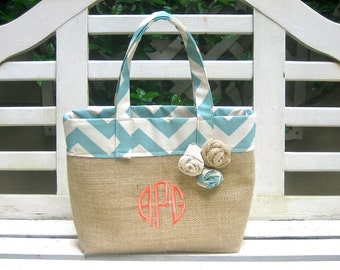 Small Size Antique Blue Chevron and Burlap Tote- Custom Made to Order