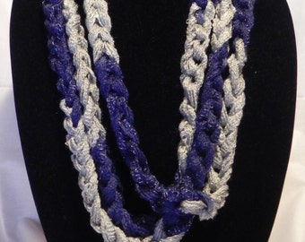 College Football Scarf/Necklace in Varigated Blue and Silver
