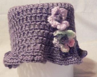 Women's Purple Crochet Hat with Flowers