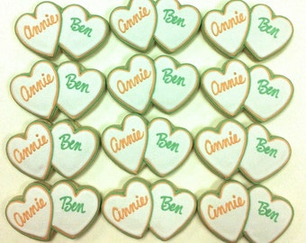 Bridal Shower Cookies, Personalized Heart Cookies, Wedding Cookie Favors, Wedding Shower Cookie Favors, Bride and Groom Cookie Favors