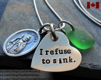 St Jude Necklace. St. Jude. Saint Jude. Addiction Recovery. Eating Disorders. Catholic Jewelry. STERLING Silver Chain. I Refuse to Sink.