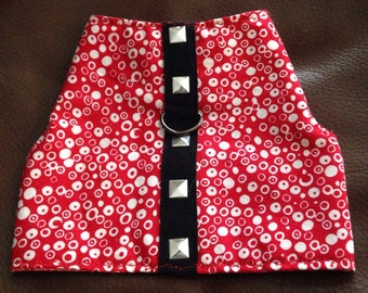Cat Harness Dog Harness Red Cotton Fabric With White