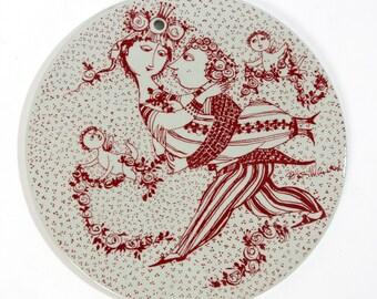 bjorn wiinblad plate nymolle marts red denmark fajance danish victoire vintage retro scandinavian collectible rosenthal