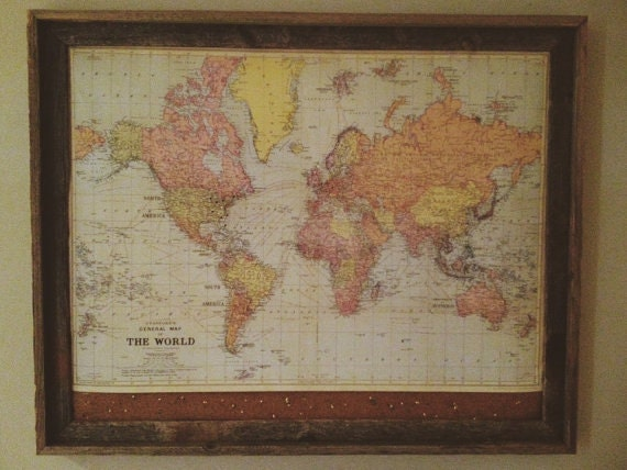 Framed World Travel Map W Cork Pin Map