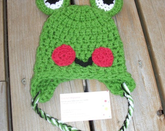 Crochet Baby Frog Earflap Hat, 0-3 months, Hand made crochet Hat