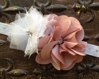 Blush Flower Girl Headband, Blush Headband, White Flower Girl Headband, Rhinestone Headband, Blush Baby Headband, White Blush Headband