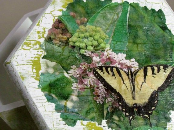 Rose Anderson, Artist, Butterfly Box Using Photo Transfer Process from Etsy