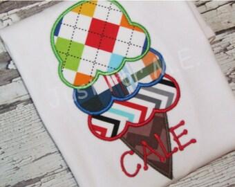 Personalized Boys Ice Cream Summer Monogrammed Appliqué Shirt or Bodysuit FREE MONOGRAM
