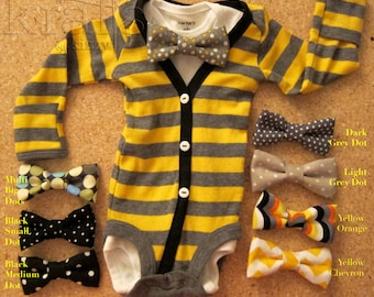 CLEARANCE!!! Baby Boy Yellow/Grey Stripe with Black Cardigan Outfit with Your Choice of 1 Removable Bow Tie