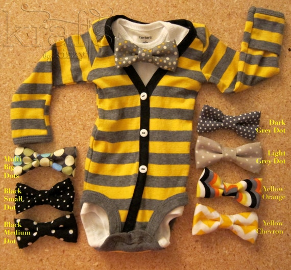 SALE!!! Baby Boy Yellow/Grey Stripe with Black Cardigan Outfit with Your Choice of 1 Removable Bow Tie (tie choices in additional photos)