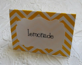 12 Chevron Food Labels-Lemonade Theme Party-Candy Bar Labels-Food Bar-Shower Decor-Tent Cards-Place Cards-Yellow-Pink-Blue-Green-Purple