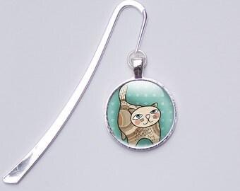 Green Cat Bookmark, Photo Bookmark, picture bookmark, metal bookmark, reader gift, bookworm,  reading, Cartoon bookmark, glass bookmark