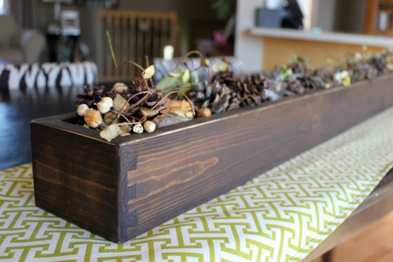 Wood table centerpiece or window box long