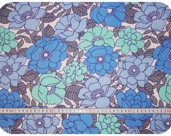 Floral retro vintage fabric - blue and turquoise