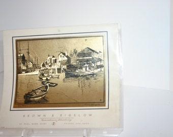 Vintage Lionel Barrymore gold etch drawing from 1950-1960's Brown & Bigelow calender